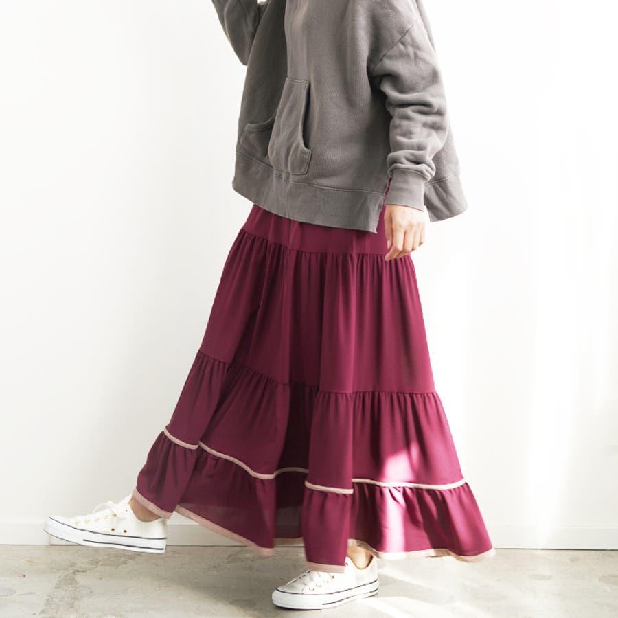 【秋冬新作】 ロングスカート スカート フレアスカート ウエストゴム パイピング 配色 フリル 韓国ファッション/パイピングティアードスカート 96