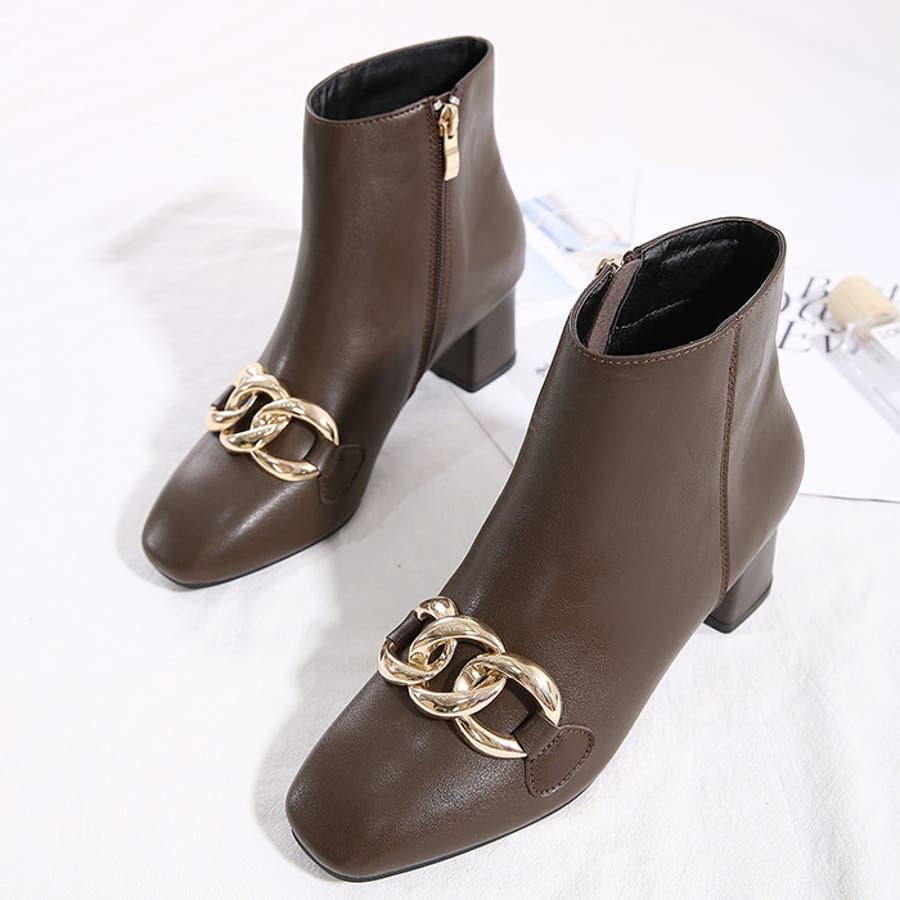 【秋冬新作】 ブーツ チェーン バルキーチェーン シューズ ショートブーツ 靴 スクエアトゥ チャンキーヒール 韓国 ファッション /バルキーチェーンブーツ 5
