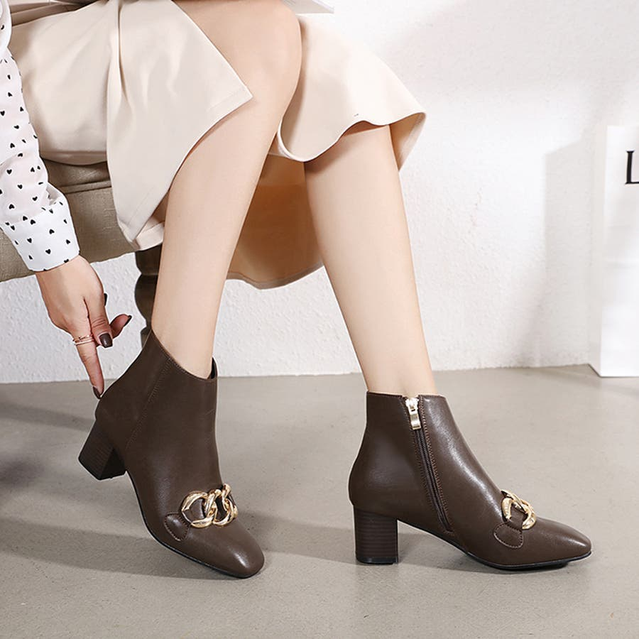 【秋冬新作】 ブーツ チェーン バルキーチェーン シューズ ショートブーツ 靴 スクエアトゥ チャンキーヒール 韓国 ファッション /バルキーチェーンブーツ 7