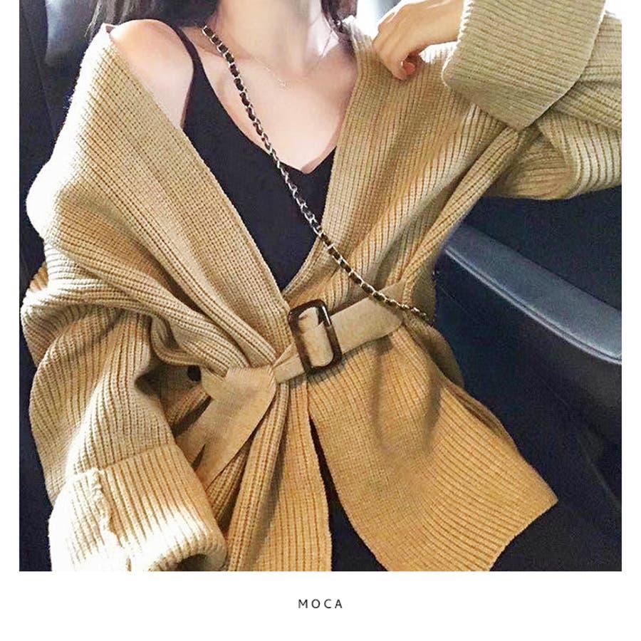 【秋冬新作】 カーディガン ウエストマーク ワイドスリーブ 羽織 トップス 韓国 ファッション / ウエストマークワイドカーディガン 4