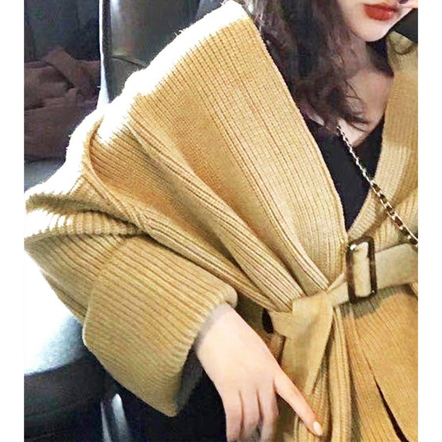 【秋冬新作】 カーディガン ウエストマーク ワイドスリーブ 羽織 トップス 韓国 ファッション / ウエストマークワイドカーディガン 6