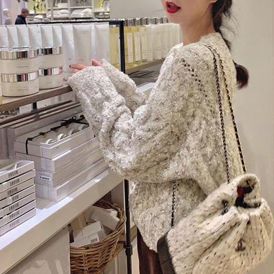 【秋冬新作】 カーディガン ニット ツィード トップス 羽織 ミックス 韓国 ファッション / ミックスフェイクツィードニットカーディガン 5
