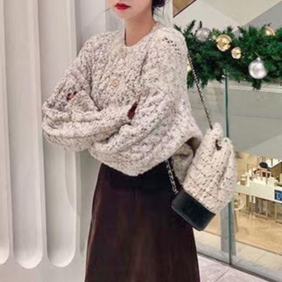 【秋冬新作】 カーディガン ニット ツィード トップス 羽織 ミックス 韓国 ファッション / ミックスフェイクツィードニットカーディガン 6