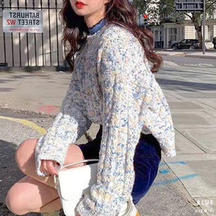 【秋冬新作】 カーディガン ニット ツィード トップス 羽織 ミックス 韓国 ファッション / ミックスフェイクツィードニットカーディガン 7