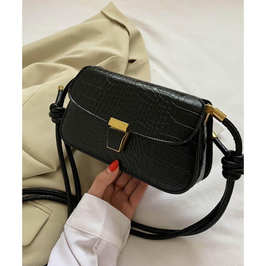 【秋冬新作】 ショルダーバッグ バッグ クロコ型押し フラップバッグ 鞄 横長 韓国 ファッション / スリムクロコショルダーバッグ 21