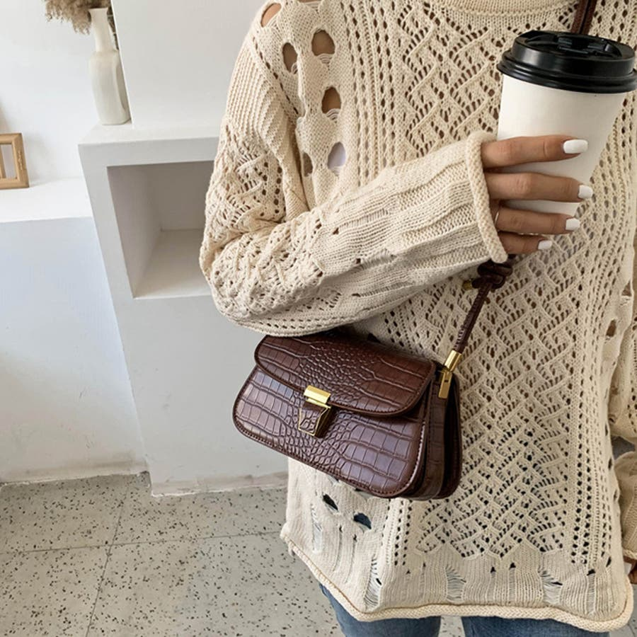 【秋冬新作】 ショルダーバッグ バッグ クロコ型押し フラップバッグ 鞄 横長 韓国 ファッション / スリムクロコショルダーバッグ 5