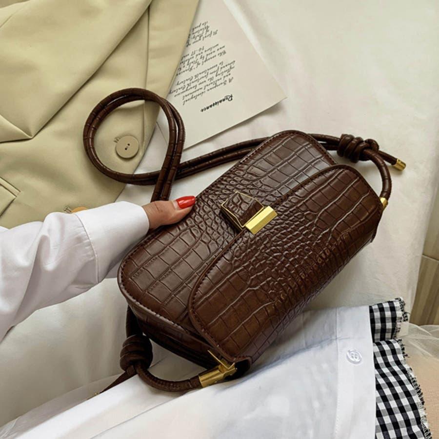 【秋冬新作】 ショルダーバッグ バッグ クロコ型押し フラップバッグ 鞄 横長 韓国 ファッション / スリムクロコショルダーバッグ 6