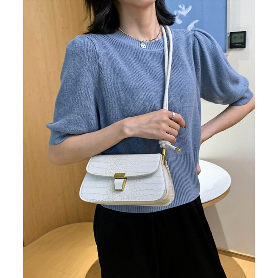 【秋冬新作】 ショルダーバッグ バッグ クロコ型押し フラップバッグ 鞄 横長 韓国 ファッション / スリムクロコショルダーバッグ 16