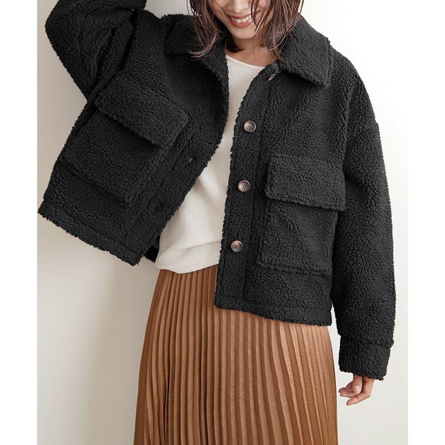 【秋冬新作】 ボア CPOジャケット ジャケット オーバーサイズ ワイド アウター コート 羽織 韓国 ファッション /ワイドボアCPOジャケット 21