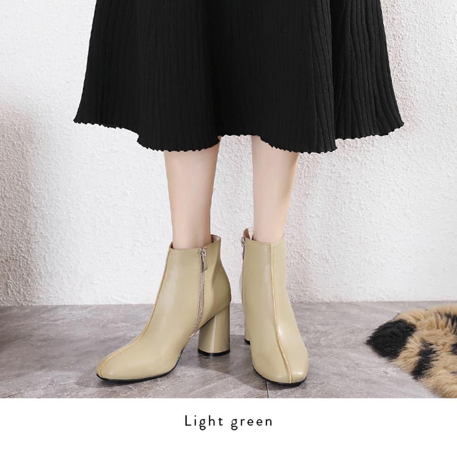 【秋冬新作】 ショートブーツ ブーツ センタシーム スクエアトゥ チャンキーヒール 靴 韓国 ファッション / センターシームスクエアトゥショートブーツ 4