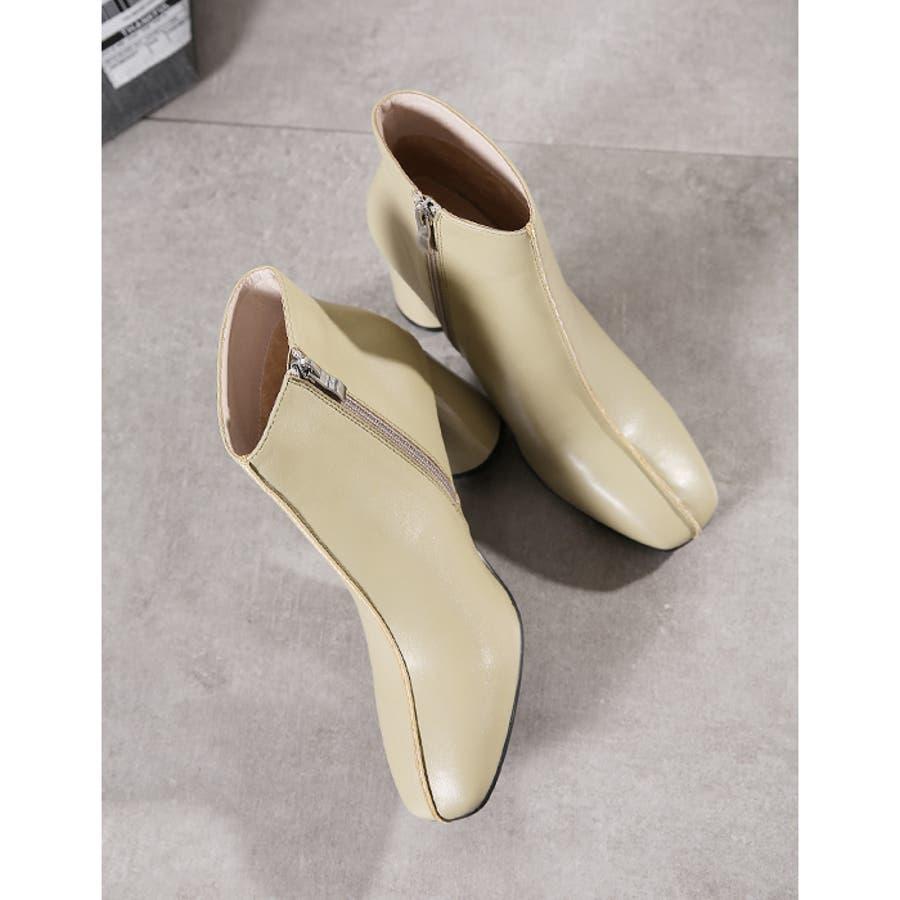 【秋冬新作】 ショートブーツ ブーツ センタシーム スクエアトゥ チャンキーヒール 靴 韓国 ファッション / センターシームスクエアトゥショートブーツ 6