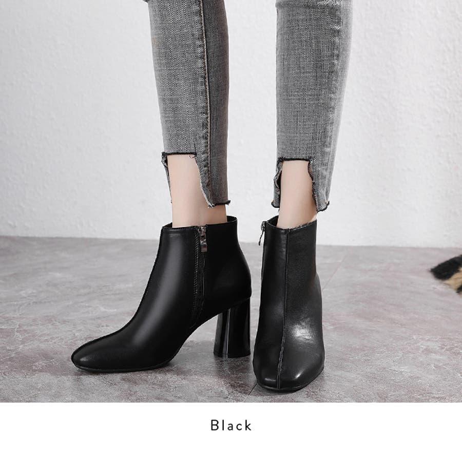 【秋冬新作】 ショートブーツ ブーツ センタシーム スクエアトゥ チャンキーヒール 靴 韓国 ファッション / センターシームスクエアトゥショートブーツ 8