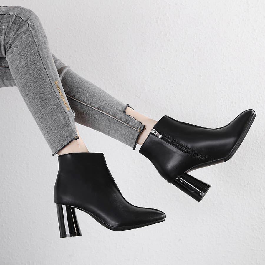 【秋冬新作】 ショートブーツ ブーツ センタシーム スクエアトゥ チャンキーヒール 靴 韓国 ファッション / センターシームスクエアトゥショートブーツ 21