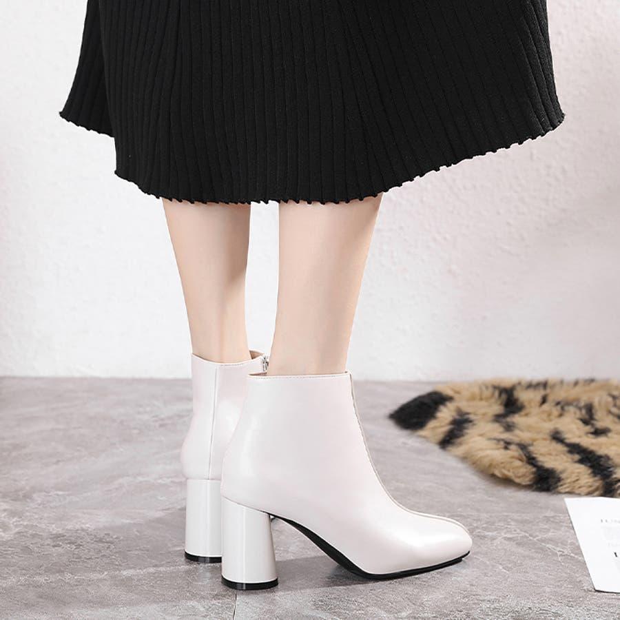 【秋冬新作】 ショートブーツ ブーツ センタシーム スクエアトゥ チャンキーヒール 靴 韓国 ファッション / センターシームスクエアトゥショートブーツ 18