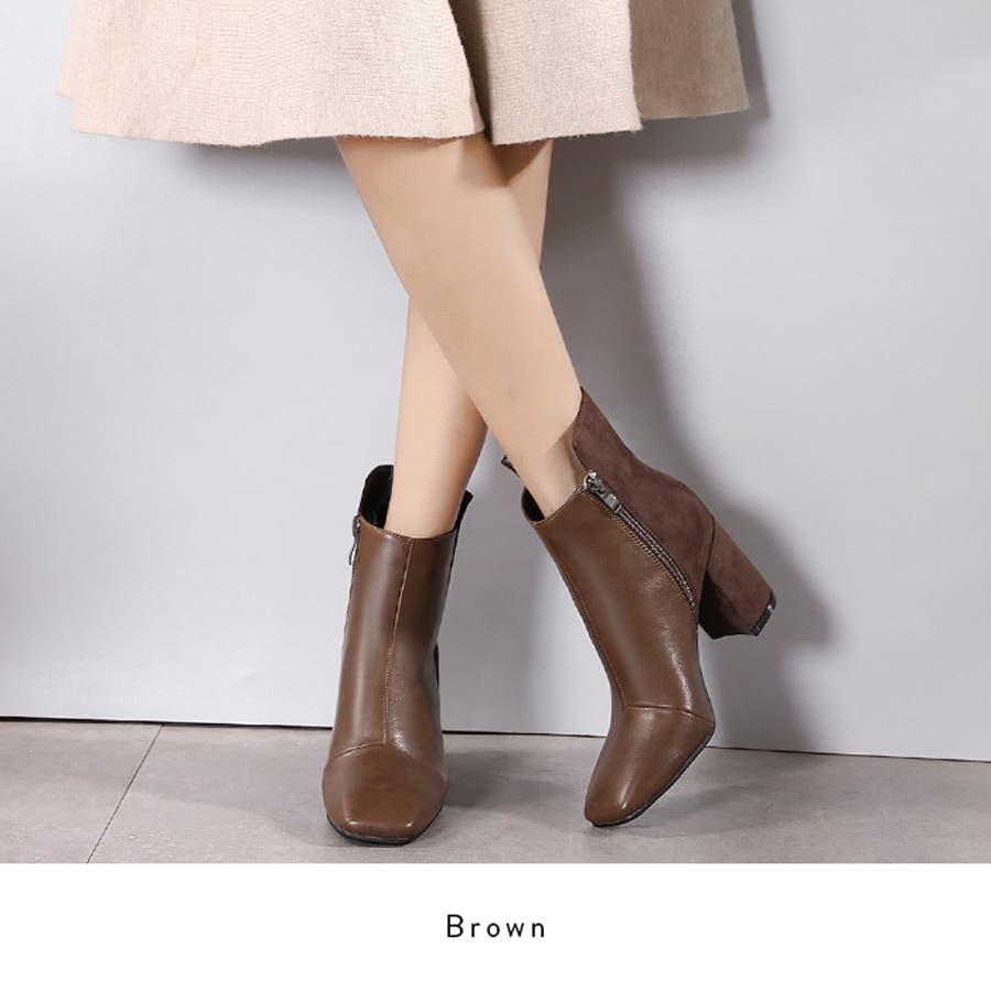 【秋冬新作】 ショートブーツ 配色 ハックロング スクエアトゥ ブーツ 靴 同色 異素材 韓国 ファッション / バックロング配色スクエアトゥショートブーツ 4