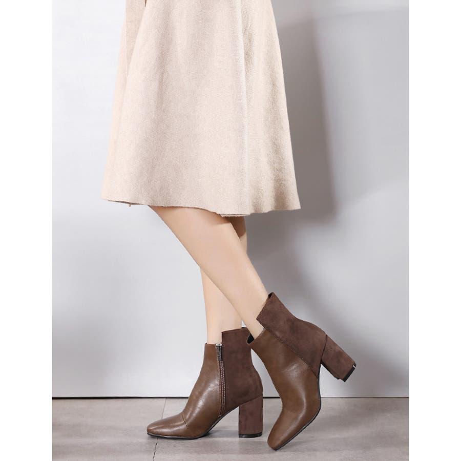 【秋冬新作】 ショートブーツ 配色 ハックロング スクエアトゥ ブーツ 靴 同色 異素材 韓国 ファッション / バックロング配色スクエアトゥショートブーツ 6