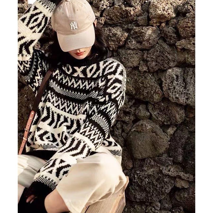 【秋冬新作】 ニット ノルディック柄 トップス プルオーバー 柄物 オーバーサイズ 韓国 ファッション / ノルディックニットプルオーバー 21