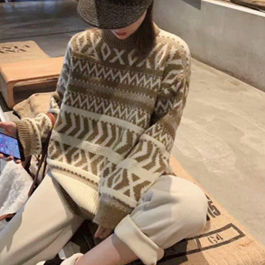 【秋冬新作】 ニット ノルディック柄 トップス プルオーバー 柄物 オーバーサイズ 韓国 ファッション / ノルディックニットプルオーバー 6