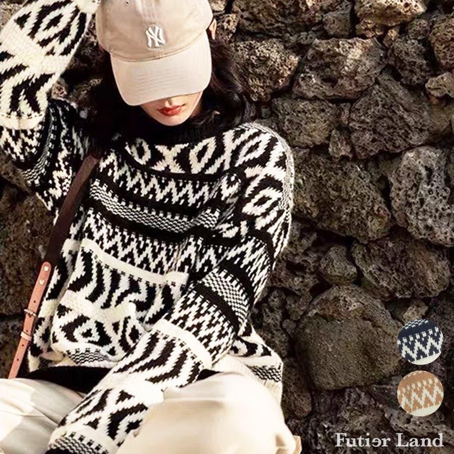 【秋冬新作】 ニット ノルディック柄 トップス プルオーバー 柄物 オーバーサイズ 韓国 ファッション / ノルディックニットプルオーバー 1