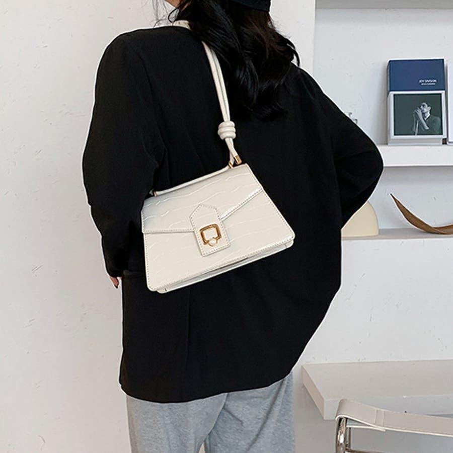 【秋冬新作】 ショルダーバッグ フラップバッグ ポイントパール バッグ クロコ型押し 韓国 ファッション / ポイントフラップショルダーバッグ 16