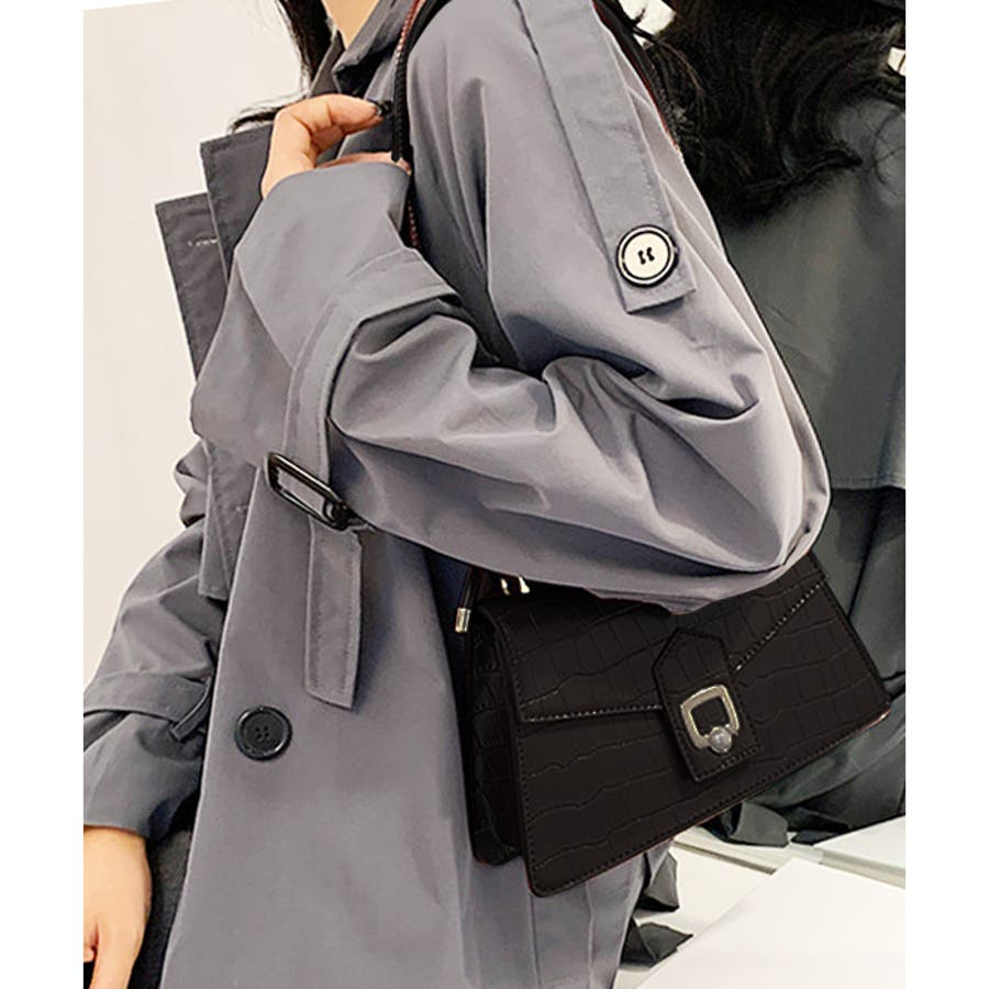 【秋冬新作】 ショルダーバッグ フラップバッグ ポイントパール バッグ クロコ型押し 韓国 ファッション / ポイントフラップショルダーバッグ 21