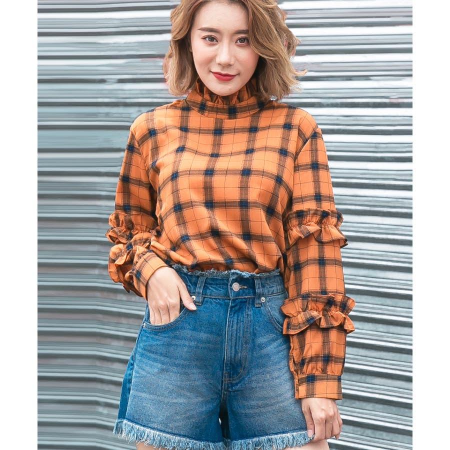 【夏新作】 ブラウス トップス チェック スタンドフリル フリル 韓国 ファッション / スタンドフリルチェックブラウス 2