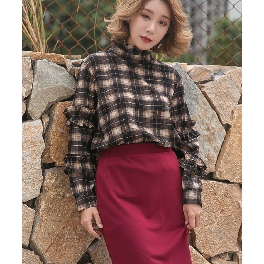 【夏新作】 ブラウス トップス チェック スタンドフリル フリル 韓国 ファッション / スタンドフリルチェックブラウス 3