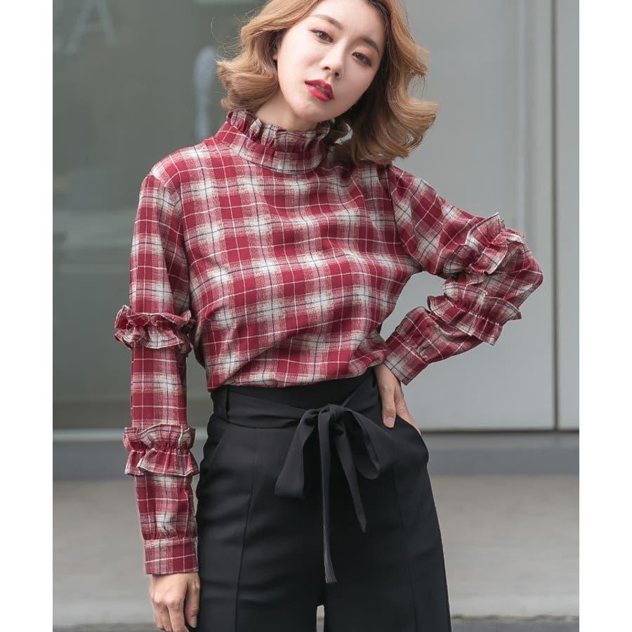 【夏新作】 ブラウス トップス チェック スタンドフリル フリル 韓国 ファッション / スタンドフリルチェックブラウス 4