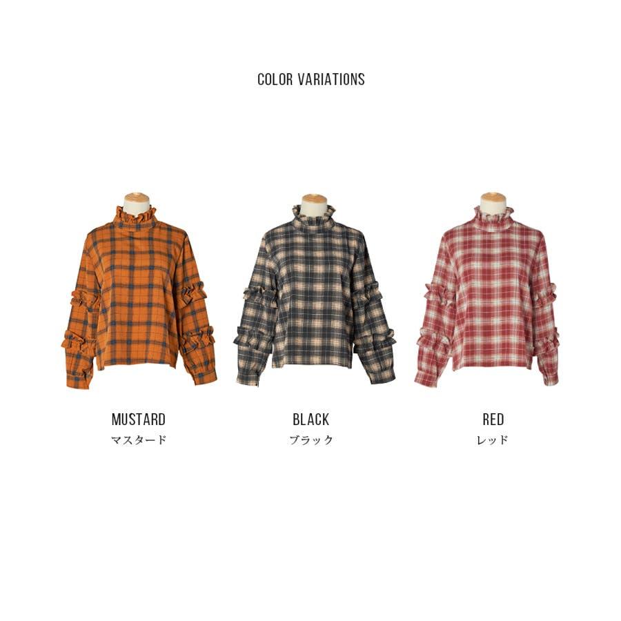【夏新作】 ブラウス トップス チェック スタンドフリル フリル 韓国 ファッション / スタンドフリルチェックブラウス 5