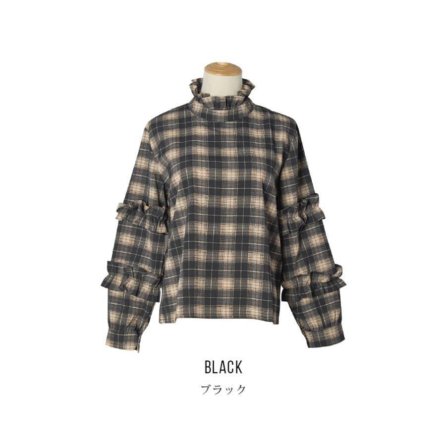 【夏新作】 ブラウス トップス チェック スタンドフリル フリル 韓国 ファッション / スタンドフリルチェックブラウス 6
