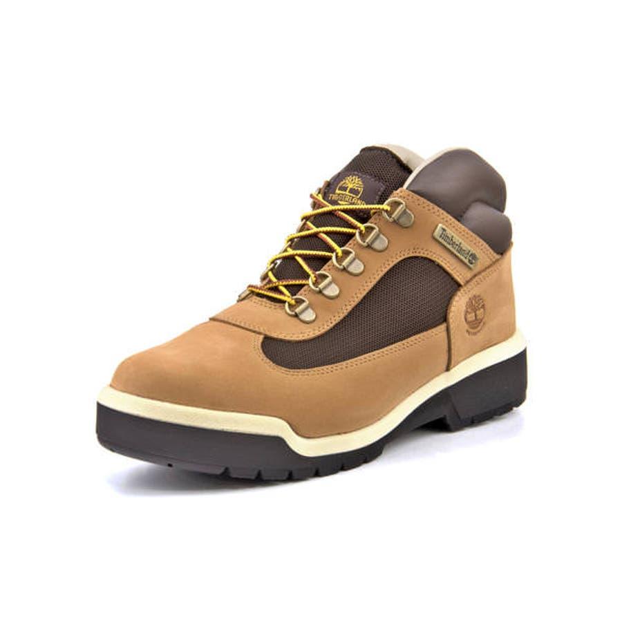 Timberland ティンバーランド FIELD BOOT WATERPROOF L/F MID BOOTメンズブーツ(フィールドブーツウォータープルーフレザー&ファブリックミッドブーツ) A1XP5 ミディアムベージュヌバック 1