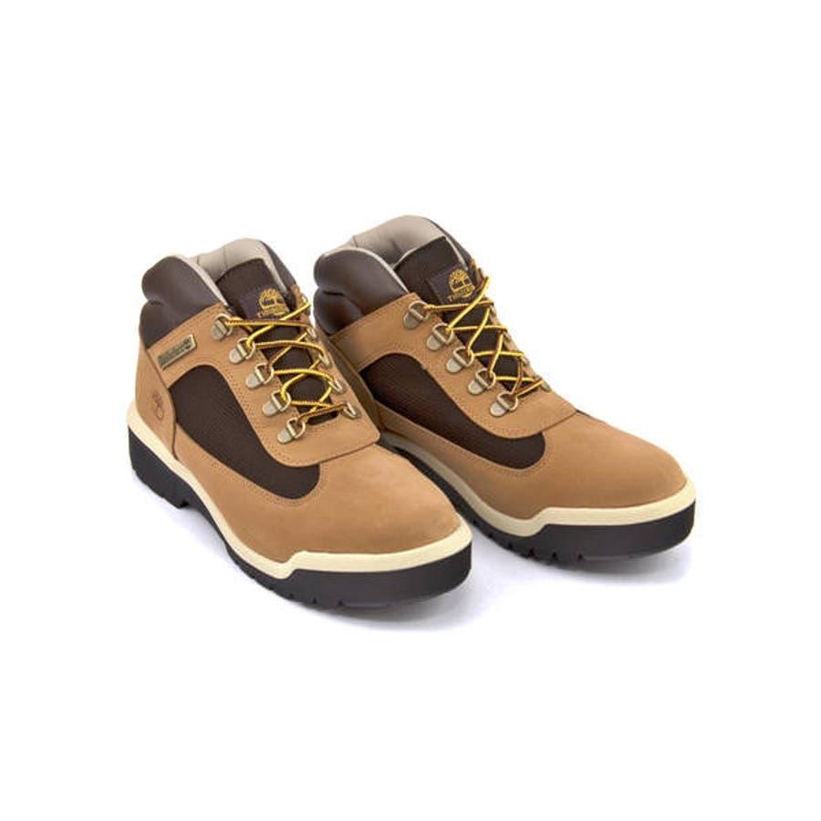 Timberland ティンバーランド FIELD BOOT WATERPROOF L/F MID BOOTメンズブーツ(フィールドブーツウォータープルーフレザー&ファブリックミッドブーツ) A1XP5 ミディアムベージュヌバック 2