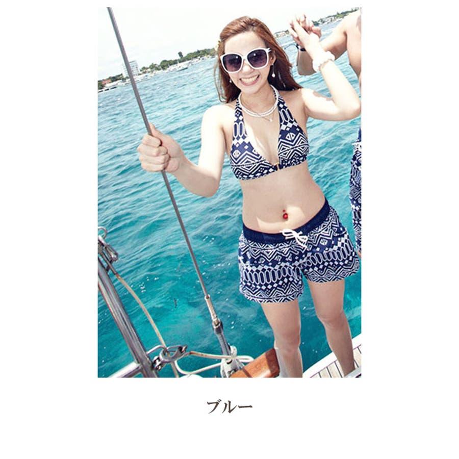 ペアルック 水着 | レディース メンズ お揃い スイムウェア プール 海 レジャー カップル ビキニ ホルターネック ショートパンツトランクス 59