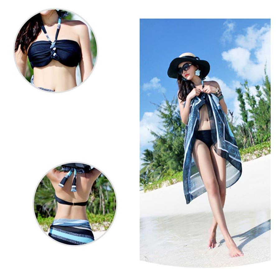 ペアルック 水着 | レディース メンズ お揃い スイムウェア プール 海 レジャー ビキニ ホルターネック トランクスハーフパンツパレオ ブルー ライトブルー 水色 黒 ブラック 4