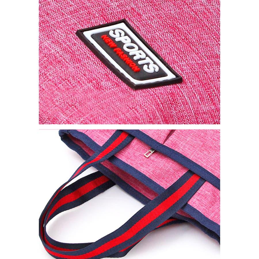 トートバッグ   レディース メンズ 男女兼用 大容量 ポリエステル ジップ付き ポケット ジム 通学 レッド ブルー ネイビーブラック ピンク 黒 赤 青 シンプル 定番 シンプル 8