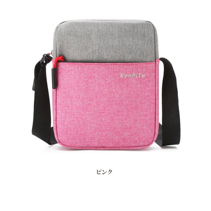 ショルダーバッグ サコッシュ | メンズ レディース 男女兼用 斜めがけ 肩がけ ブルー ブラック グレー ピンク ポリエステルコンパクト サブバッグ 5