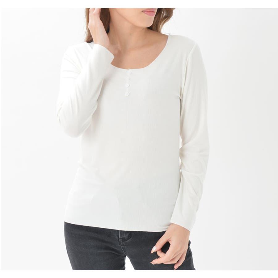 インナー Tシャツ 長袖 | ラウンドネック 飾り前ボタン 襟ぐり大きめ レディース モダール 防寒 吸湿 放湿 快適 ブラックホワイト レンガ ベージュピンク 黒 白 ヘム仕様 7