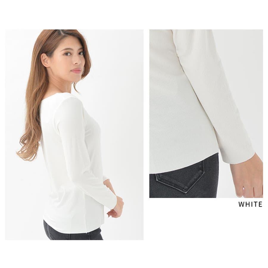 インナー Tシャツ 長袖 | ラウンドネック 飾り前ボタン 襟ぐり大きめ レディース モダール 防寒 吸湿 放湿 快適 ブラックホワイト レンガ ベージュピンク 黒 白 ヘム仕様 8