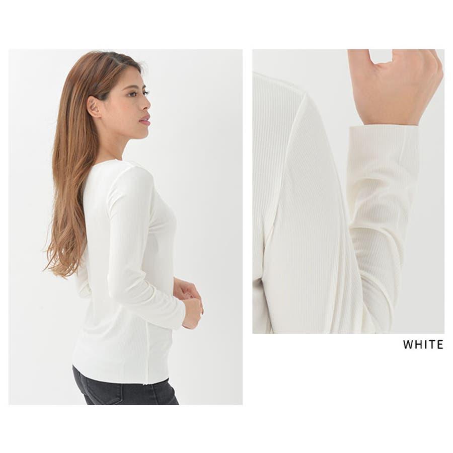 インナー Tシャツ カットオフ 長袖   Vネック レディース アウターに響かない モダール 襟裾スッキリ シームレス 薄手 サラサラブラック ホワイト レンガ ベージュピンク 黒 白 きりっぱ 8