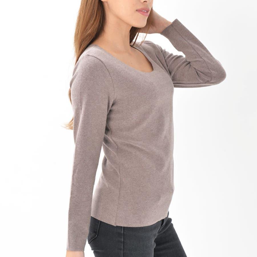 インナー Tシャツ ラウンドネック 長袖 | レディース アウターに響かない 厚手 あったか 襟ぐり大きめ ピーチスキン 柔らかやわらか サラサラ ロンT ブラック パープル ピンク ベージュ ブラウン 黒 9
