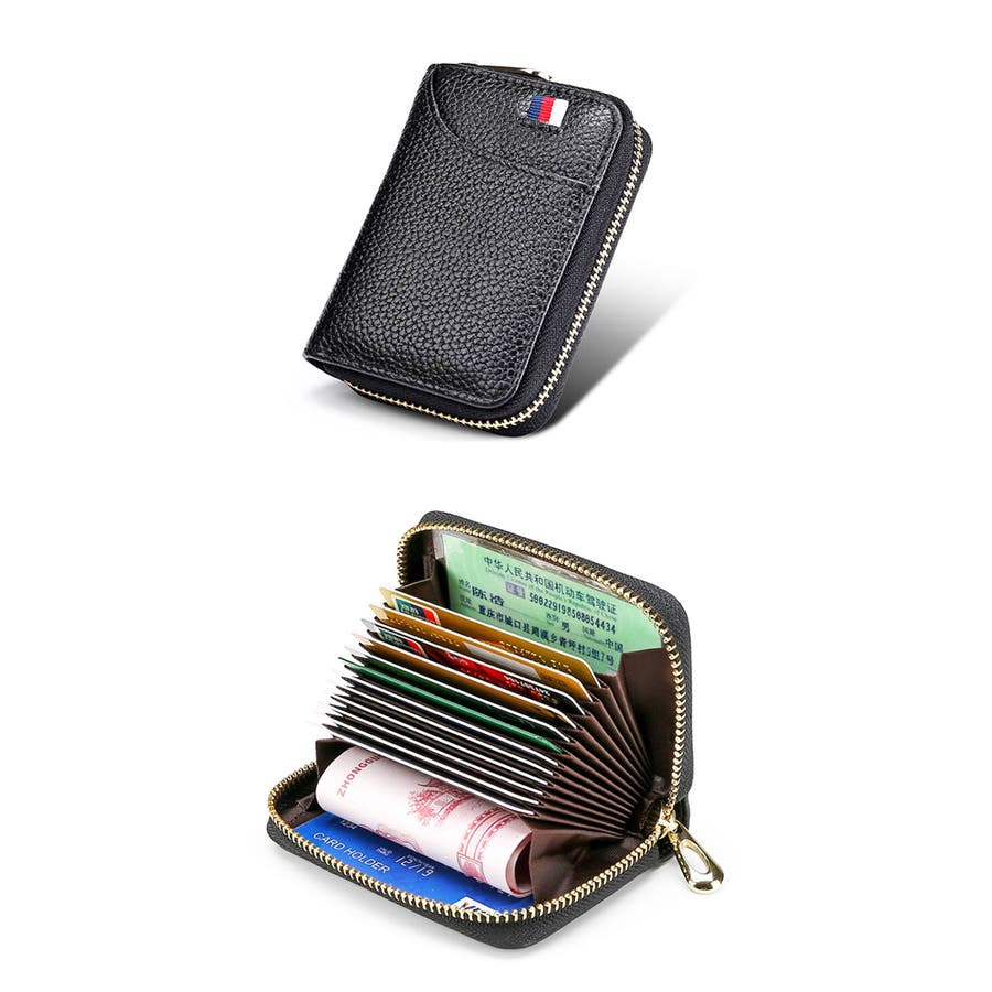 スキミング防止機能 じゃばら カードケース   6色 見やすい 牛革 ポリエステル 合金 ブラック ピンク ローズ ブルー パープルブラウン 黒 青 紫 茶 10