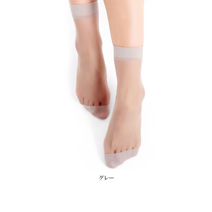 レディース ソックス シースルー | 靴下 ナイロン 女性 ストッキング 透け感 ブラック グレー ブラウン ライトベージュシンプル使いやすい ショート丈 ミディアム丈 3