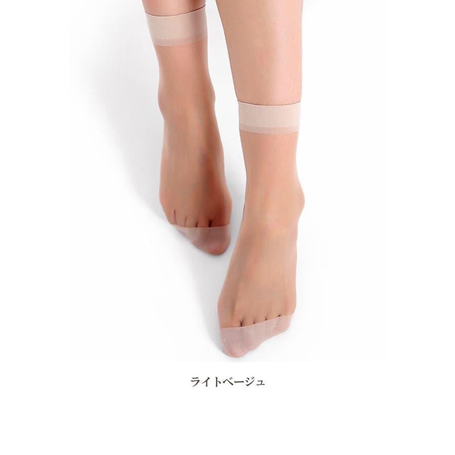 レディース ソックス シースルー | 靴下 ナイロン 女性 ストッキング 透け感 ブラック グレー ブラウン ライトベージュシンプル使いやすい ショート丈 ミディアム丈 5