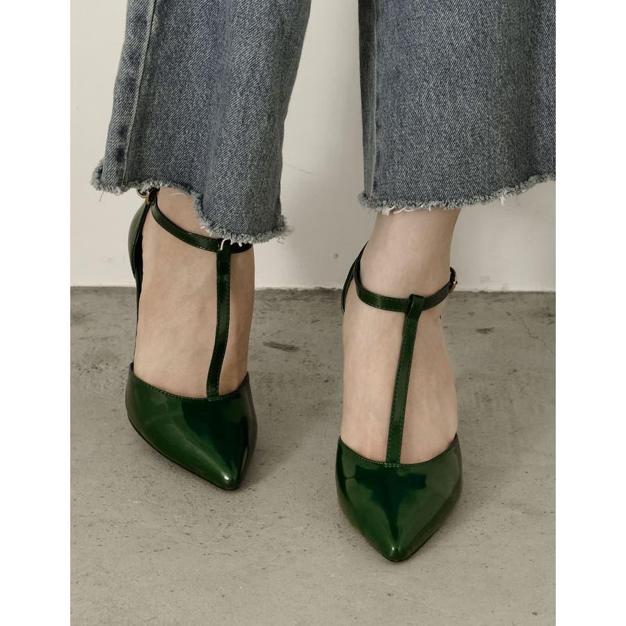 足元を色っぽく魅せる一足 8 5cmヒールTストラップポインテッドトゥパンプス 47