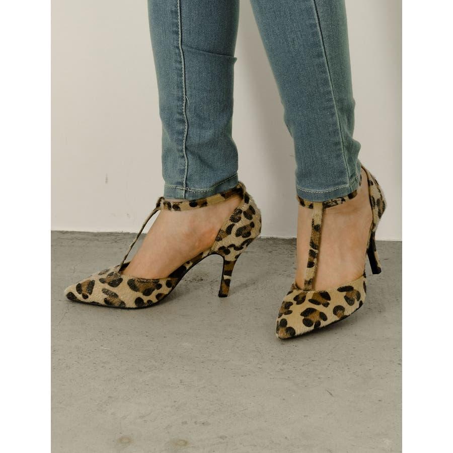 足元を色っぽく魅せる一足 8 5cmヒールTストラップポインテッドトゥパンプス 108