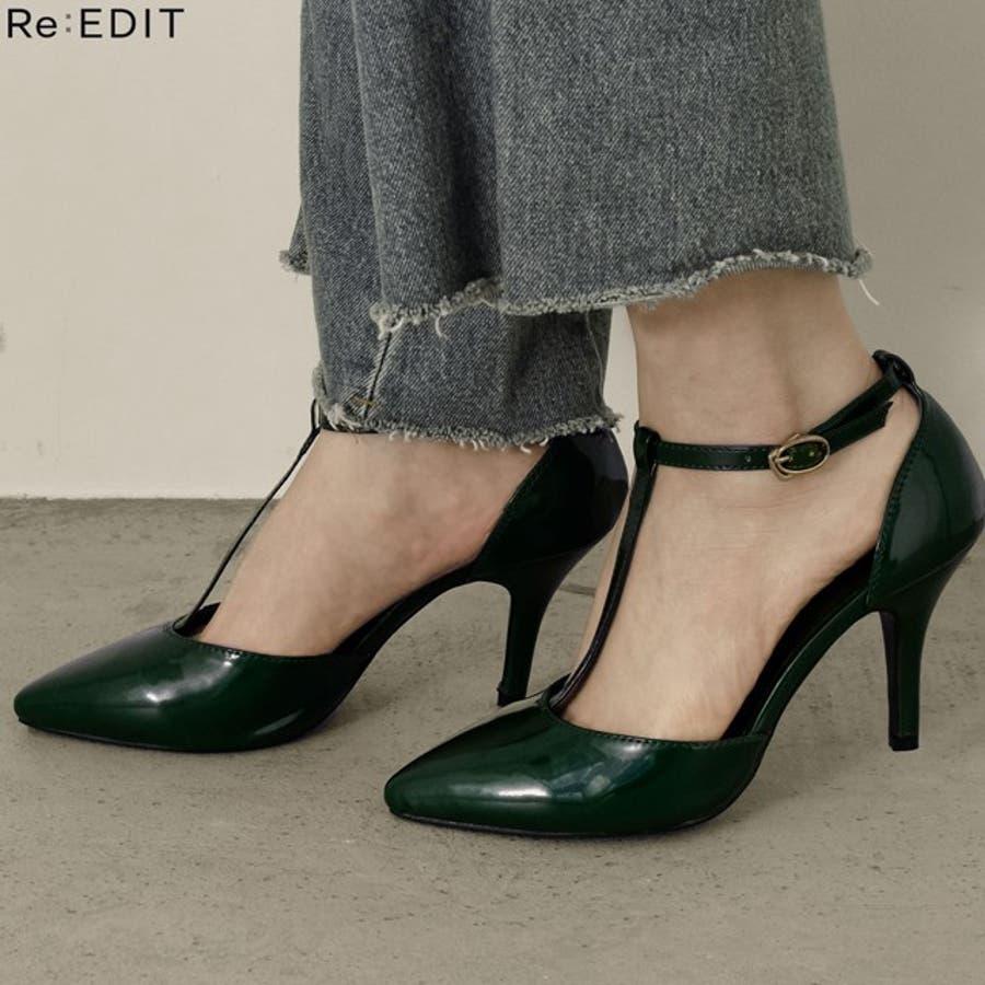 足元を色っぽく魅せる一足 8 5cmヒールTストラップポインテッドトゥパンプス 1