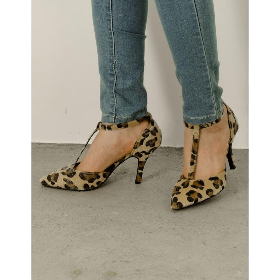 足元を色っぽく魅せる一足 8 5cmヒールTストラップポインテッドトゥパンプス 7