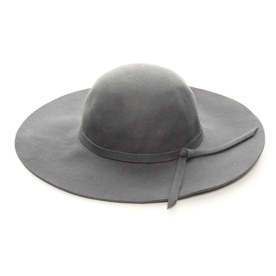 かわいいデザイン ツバ広 リボンベルト フェルト ウール 女優帽 ハット 帽子 レディース 誤嚥