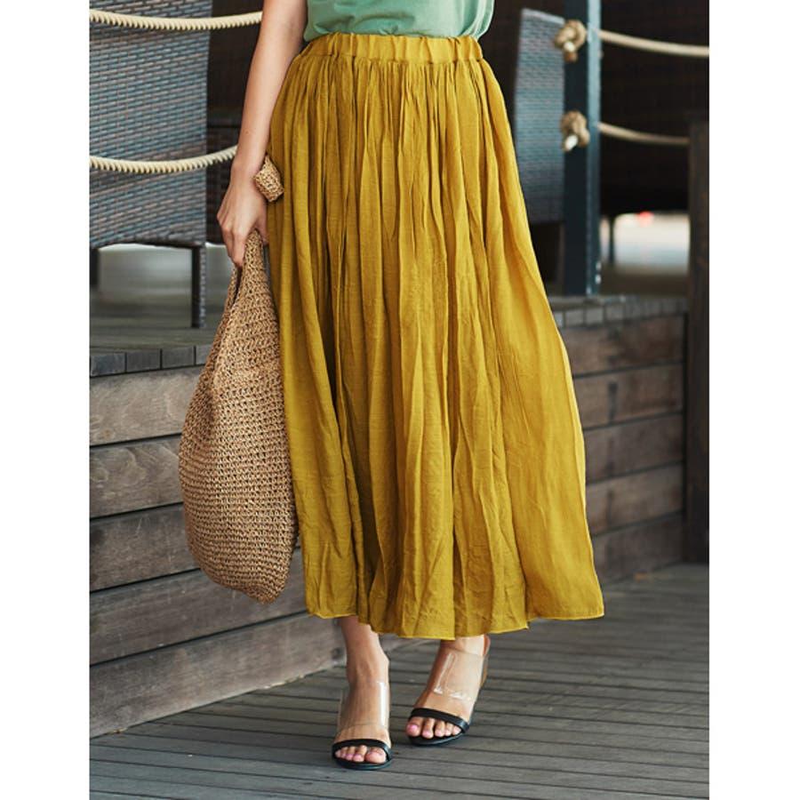 大人気の涼感フレアスカートが今年も登場! ロープ付き楊柳ロングフレアスカート 85