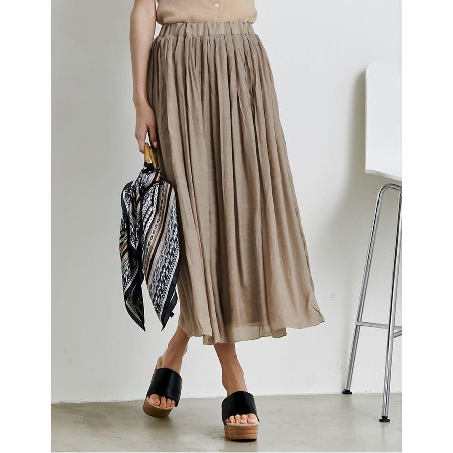 大人気の涼感フレアスカートが今年も登場! ロープ付き楊柳ロングフレアスカート 35